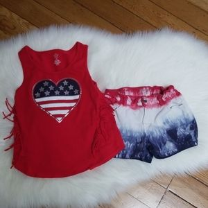 Cat & Jack red white blue outfit jean shorts tank